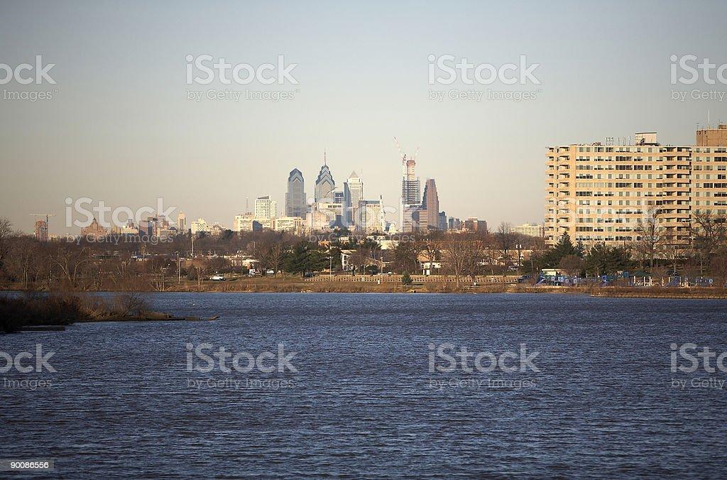 Philadelphia Skyline from NJ stock photo