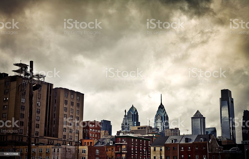 Philadelphia Skyline Over Houses on a Cloudy Day royalty-free stock photo