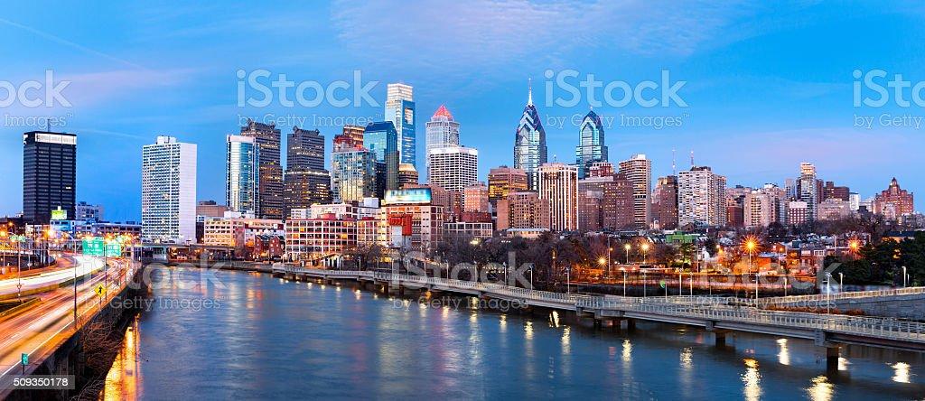 Philadelphia skyline panorama at dusk stock photo