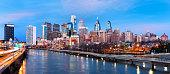 Philadelphia skyline panorama at dusk