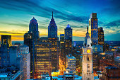 Philadelphia Skyline with William Penn and city hall