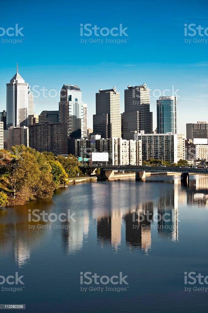 Philadelphia  skyline,flowering trees and financial district stock photo
