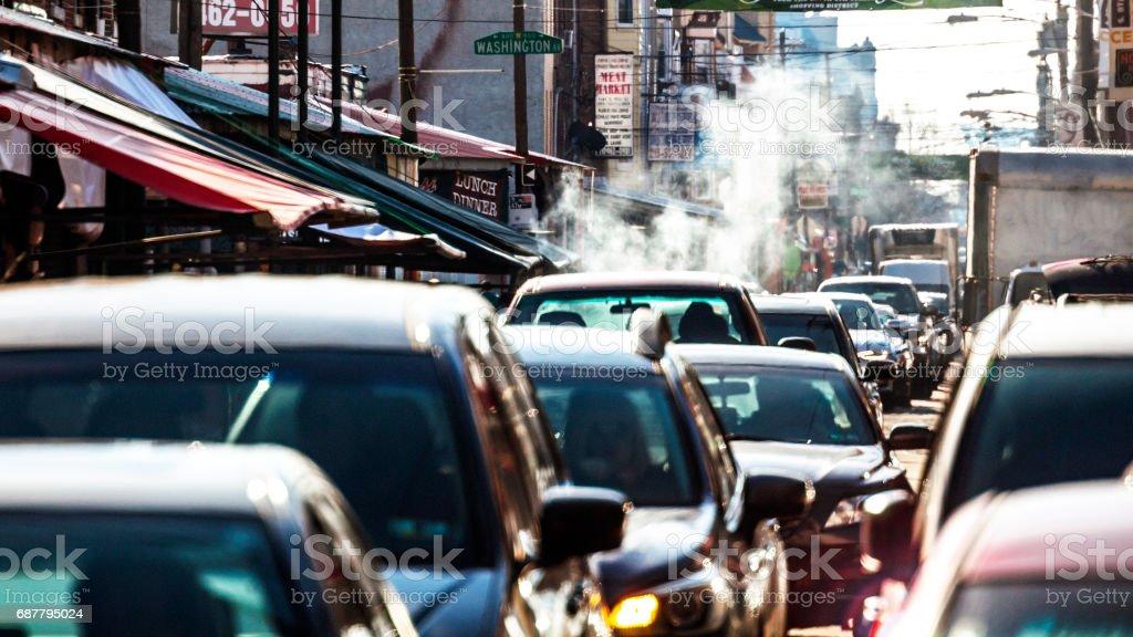 Philadelphia traffic - 9th Street Italian Market. stock photo