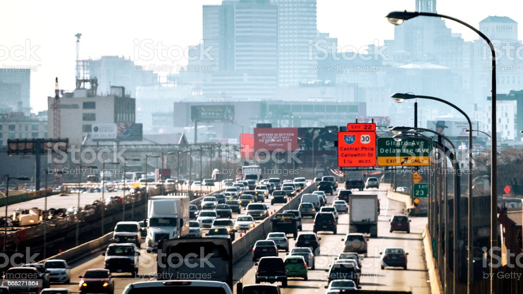 Philadelphia traffic. stock photo