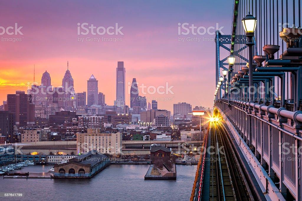 Philadelphia under a hazy purple sunset stock photo