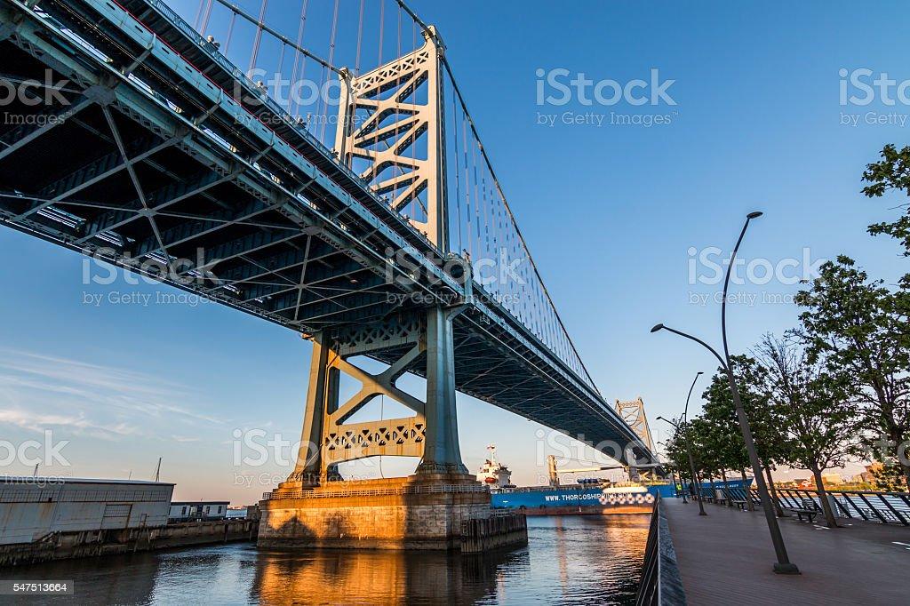 Philadelpia's Franklin Bridge seen from Race Street Pier stock photo