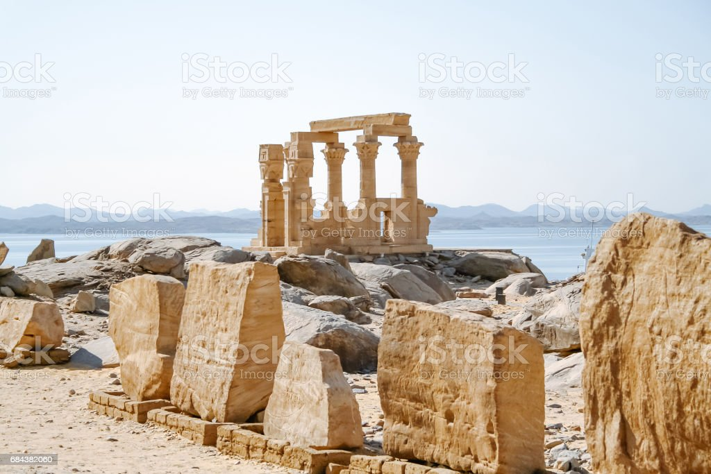 Philae Temple of Isis on Agilkia Island in Lake Nasser, Aswan, Egypt, North Africa. stock photo