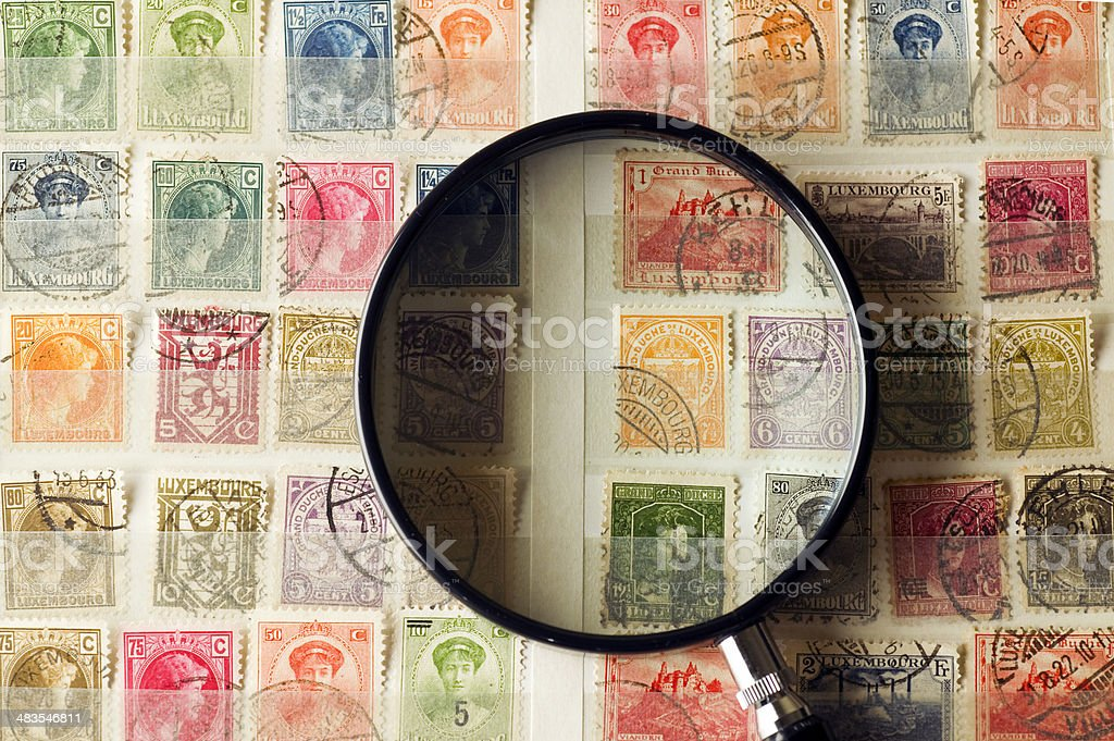 Philately, postage stamps. stock photo