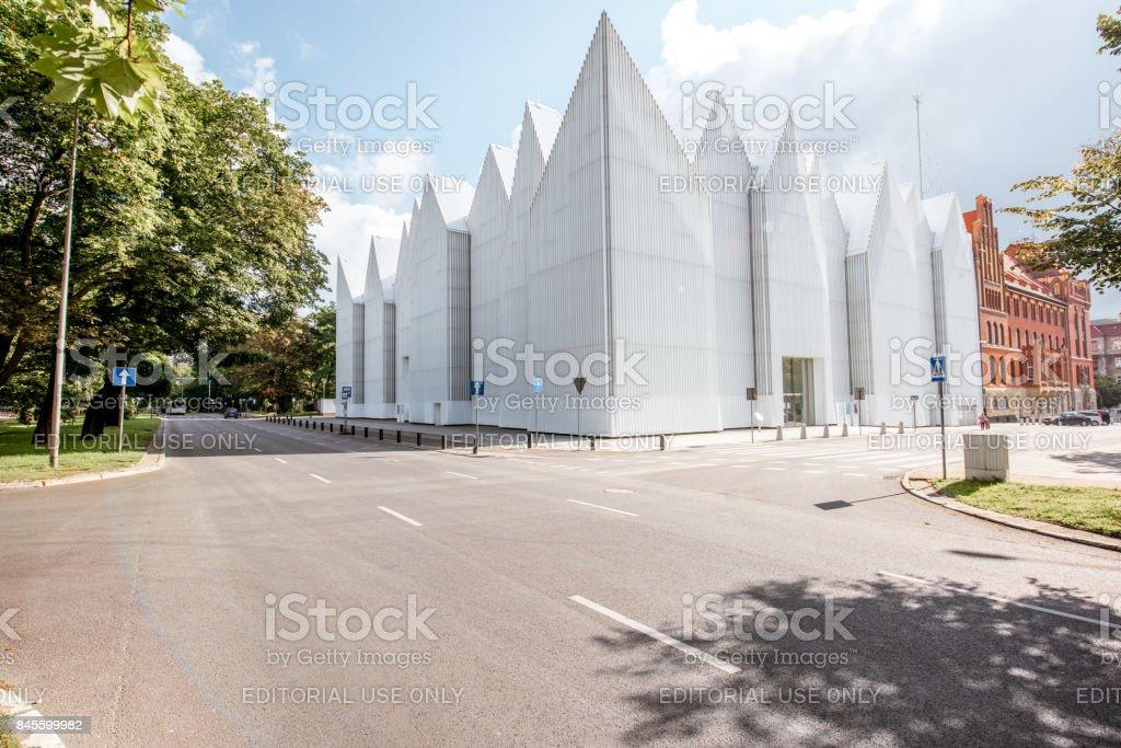 Philharmonic building in Szczecin city stock photo