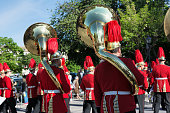 Philharmonic musicians playing in Corfu Easter holiday celebrations, Greece.