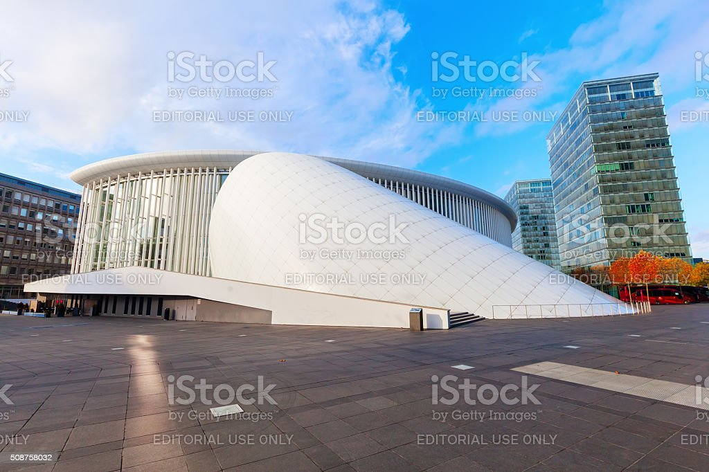 Philharmonie on Kirchberg Plateau in Luxembourg stock photo
