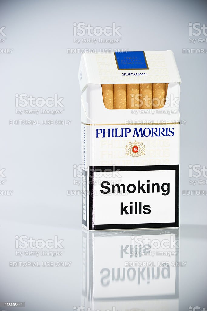 Philip Morris brand cigarette packet - Front view vith warning...