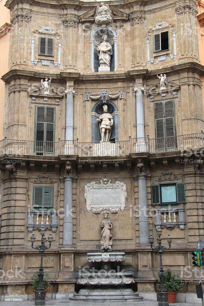 Philipp II in Quattro Canti (Palermo) stock photo