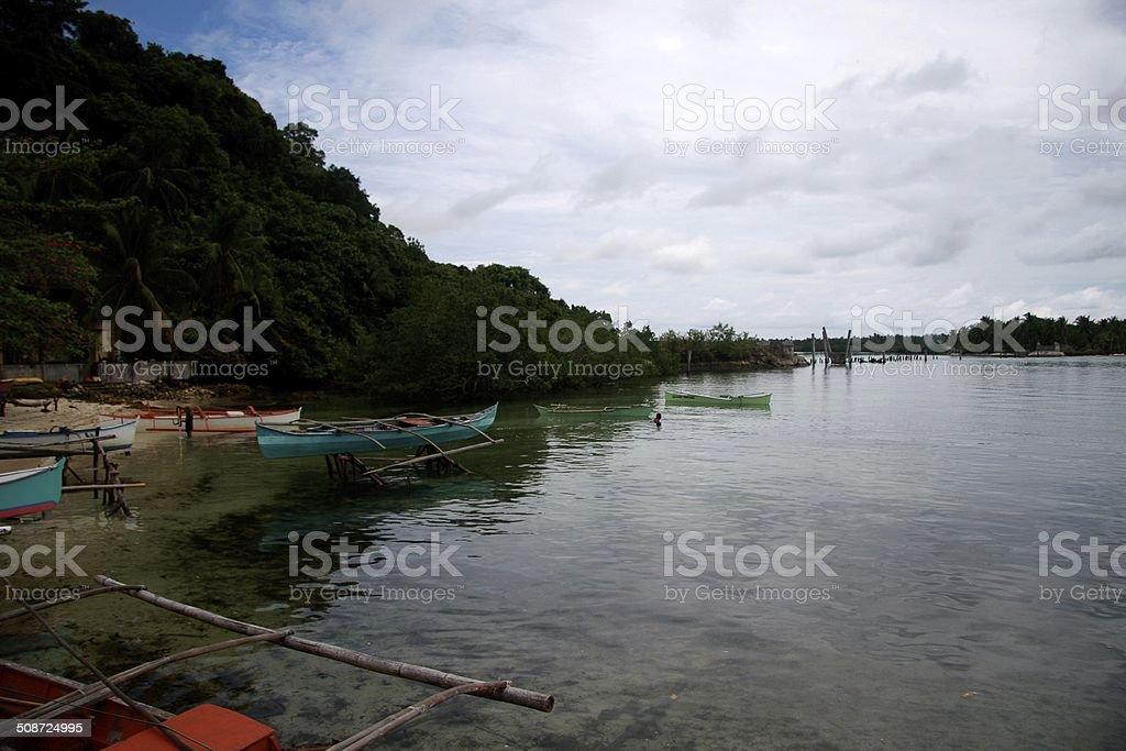 Philippine coastal village stock photo