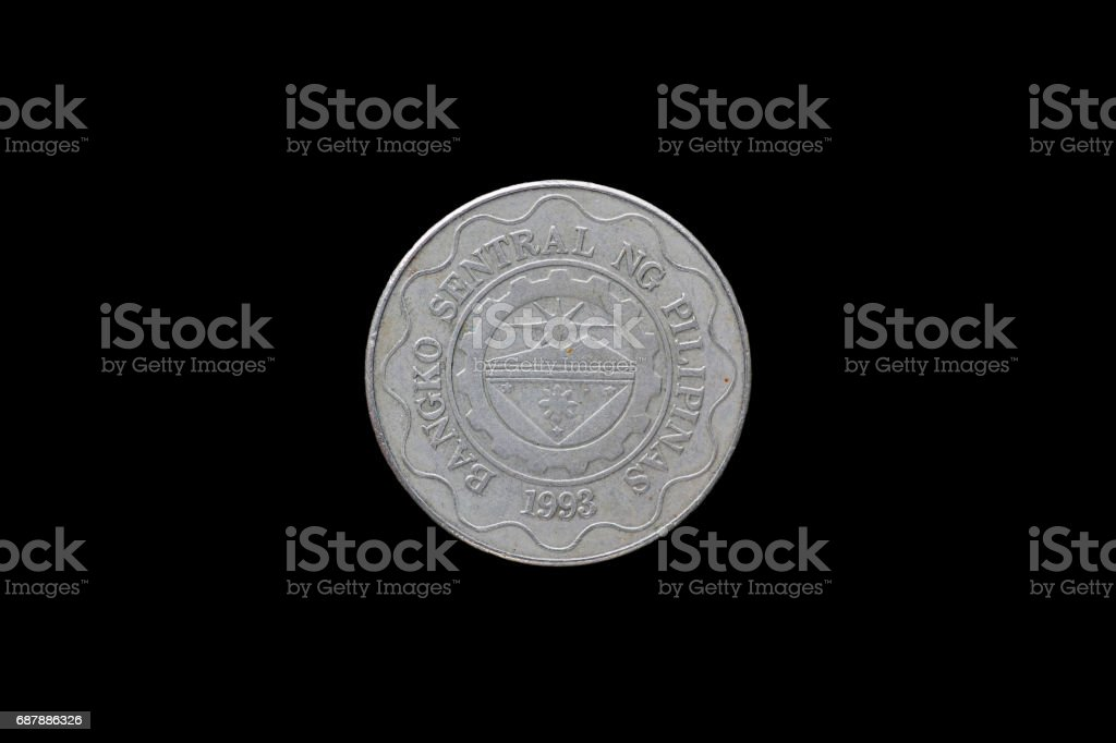 Philippine coins isolated on black background. stock photo