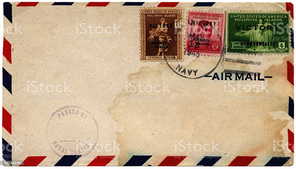 Philippine Islands victory stamps on envelope 1945 royalty-free stock photo
