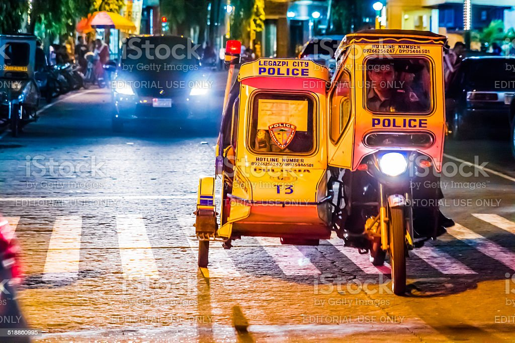 Philippine Police Tricycle Mobile stock photo