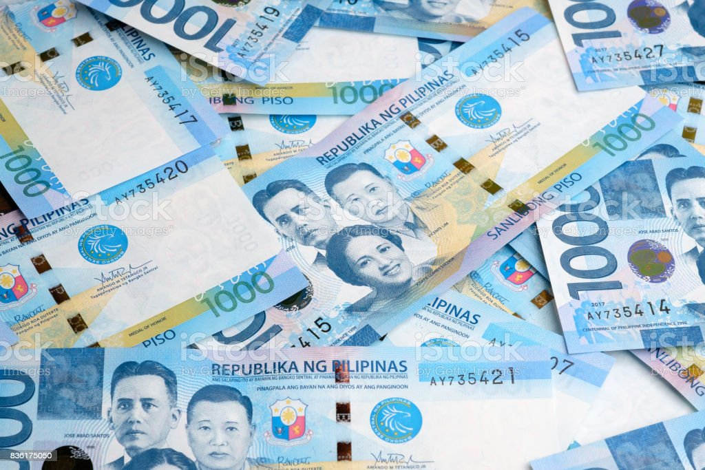 Philippines bank notes peso stock photo
