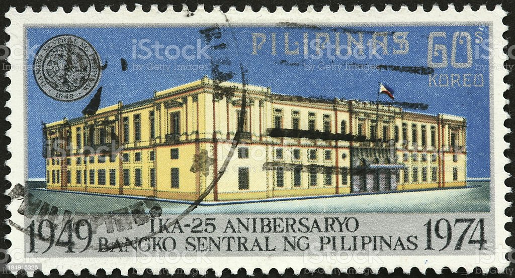 Philippines Central Bank on a postage stamp royalty-free stock photo