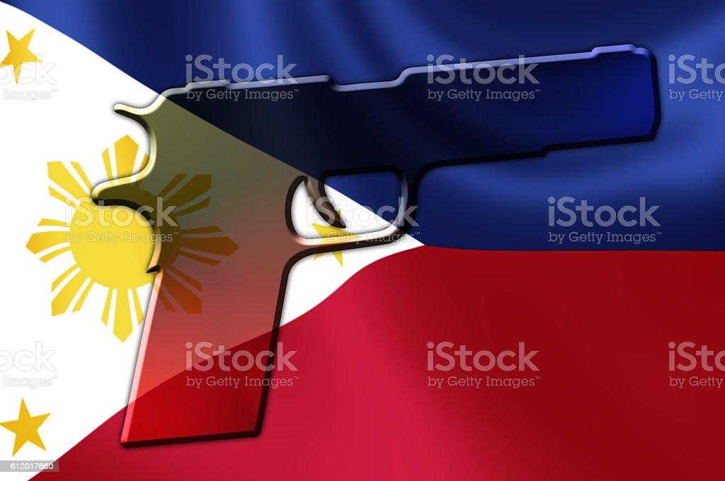 Philippines Flag Hand Gun stock photo