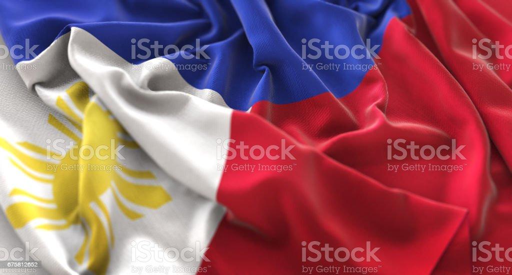 Philippines Flag Ruffled Beautifully Waving Macro Close-Up Shot stock photo