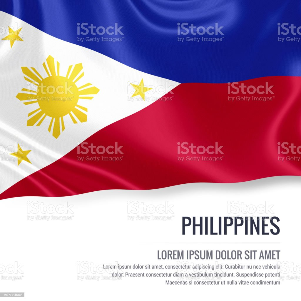 Philippines flag. Silky flag of Philippines waving on an isolated white background with the white text area for your advert message. 3D rendering. stock photo