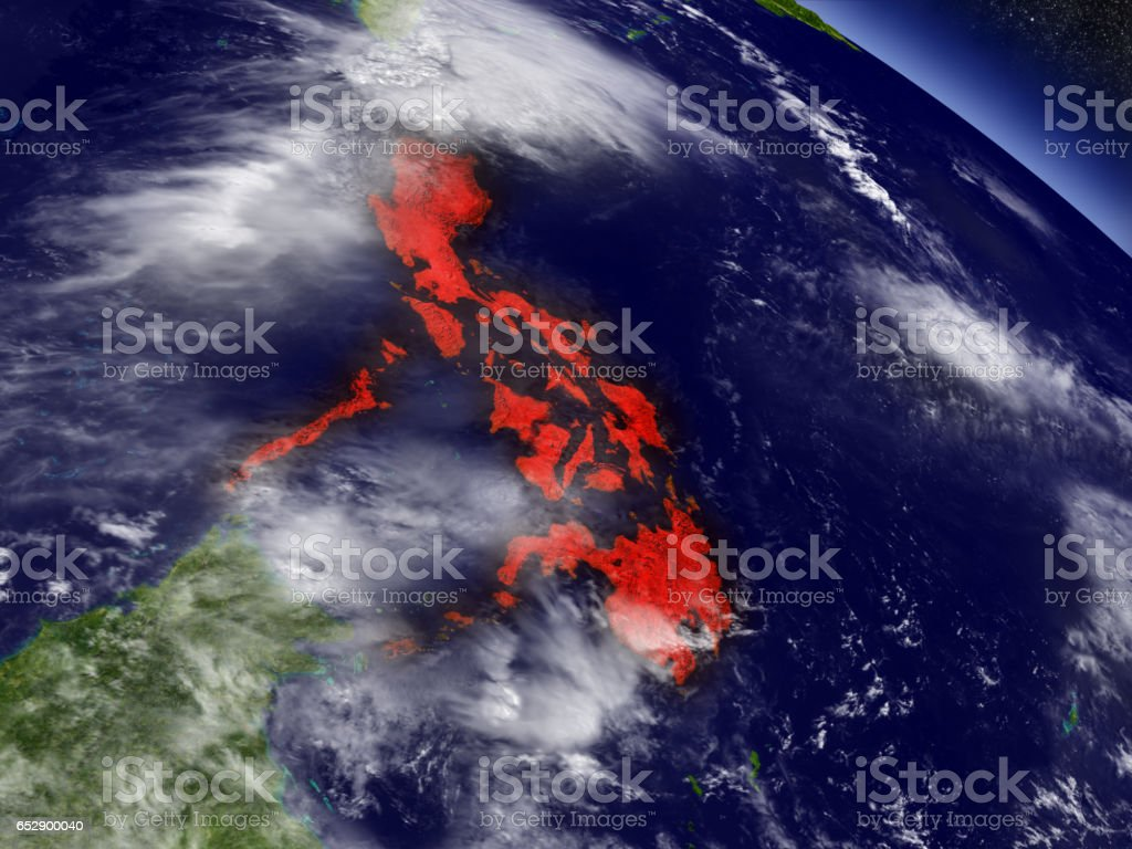 Philippines from space highlighted in red stock photo