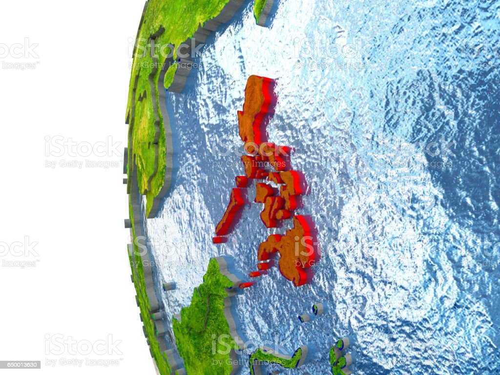 Philippines in red stock photo