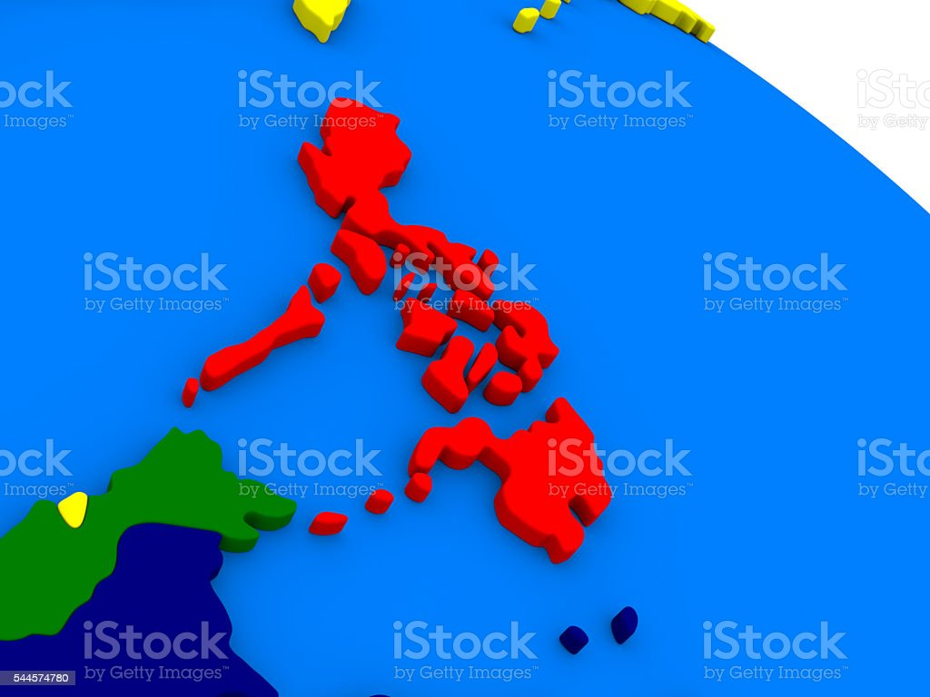 Philippines on colorful 3D globe stock photo
