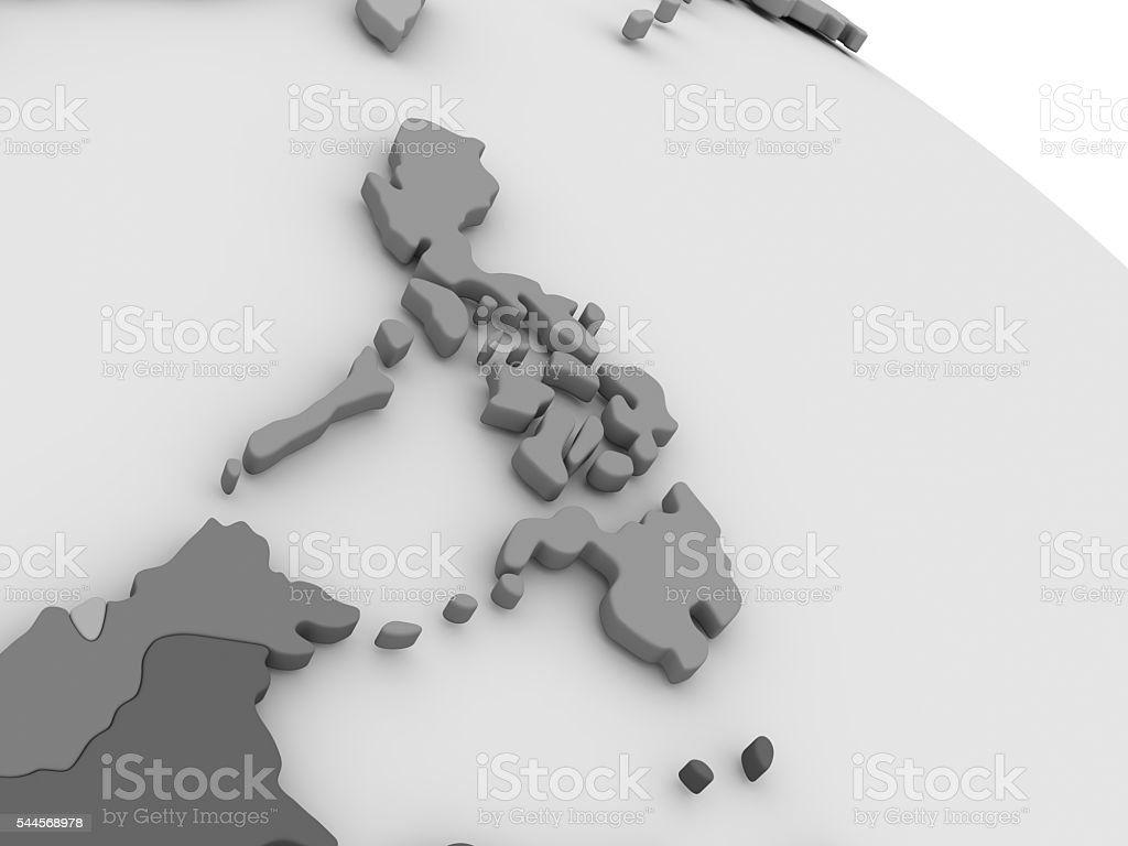 Philippines on grey 3D map stock photo