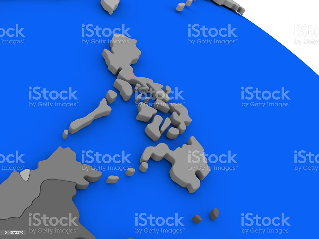 Philippines on political Earth model stock photo
