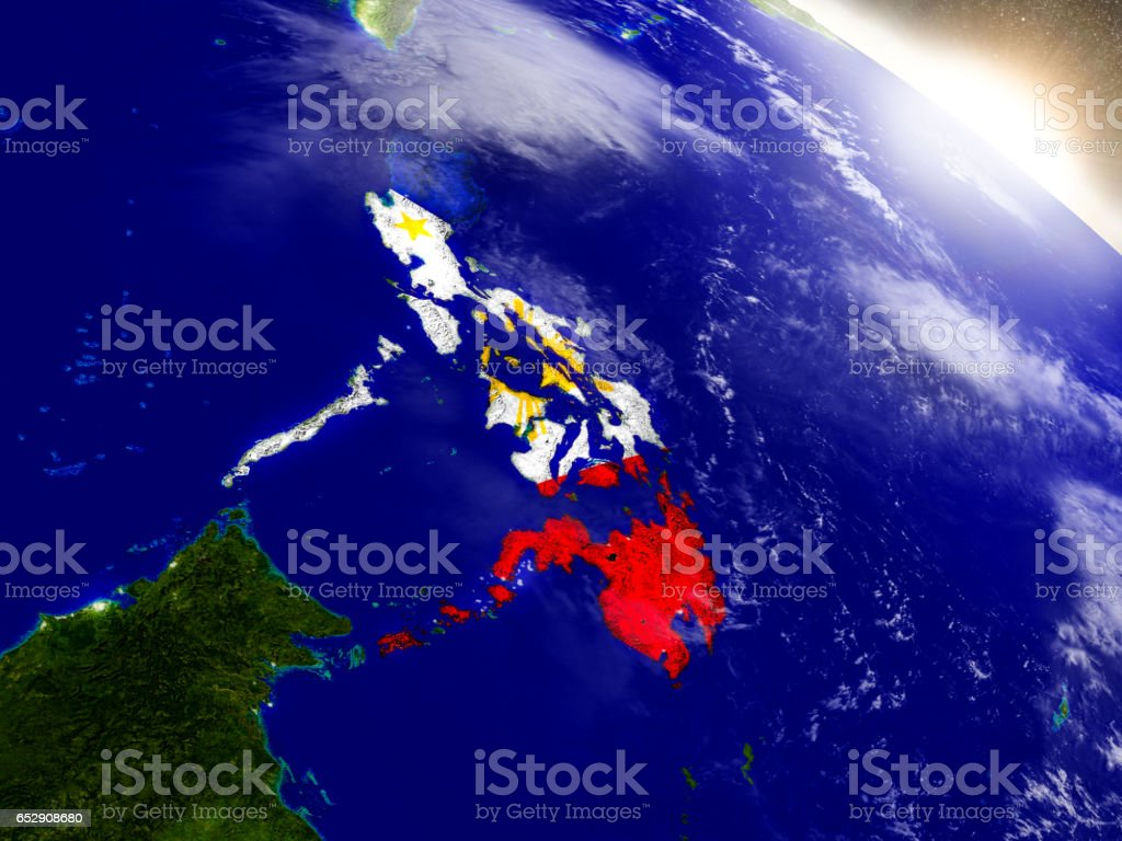 Philippines with flag in rising sun stock photo
