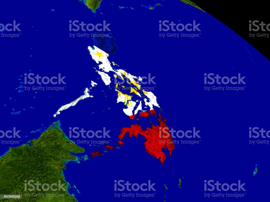 Philippines with flag on Earth stock photo