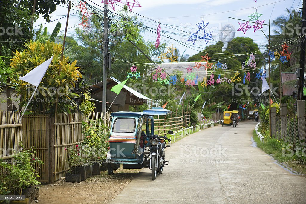 Philippino village with Christmas decorations stock photo