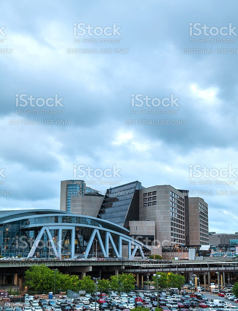 Philips Arena and CNN Center in Atlanta stock photo