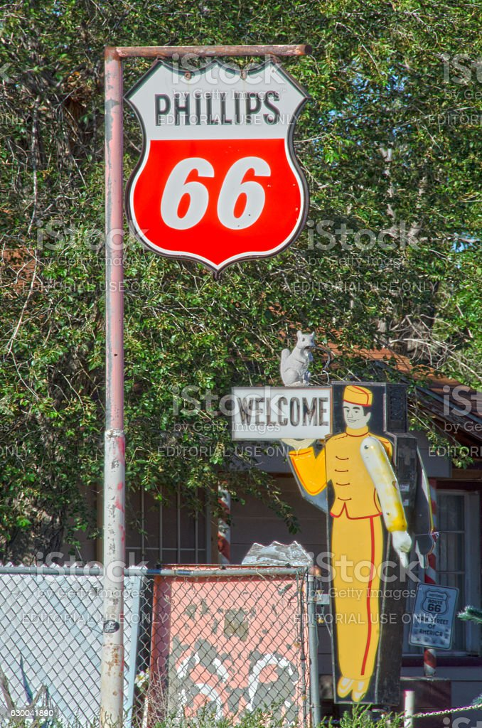 Phillips 66 and Service Station Attendant Signs stock photo
