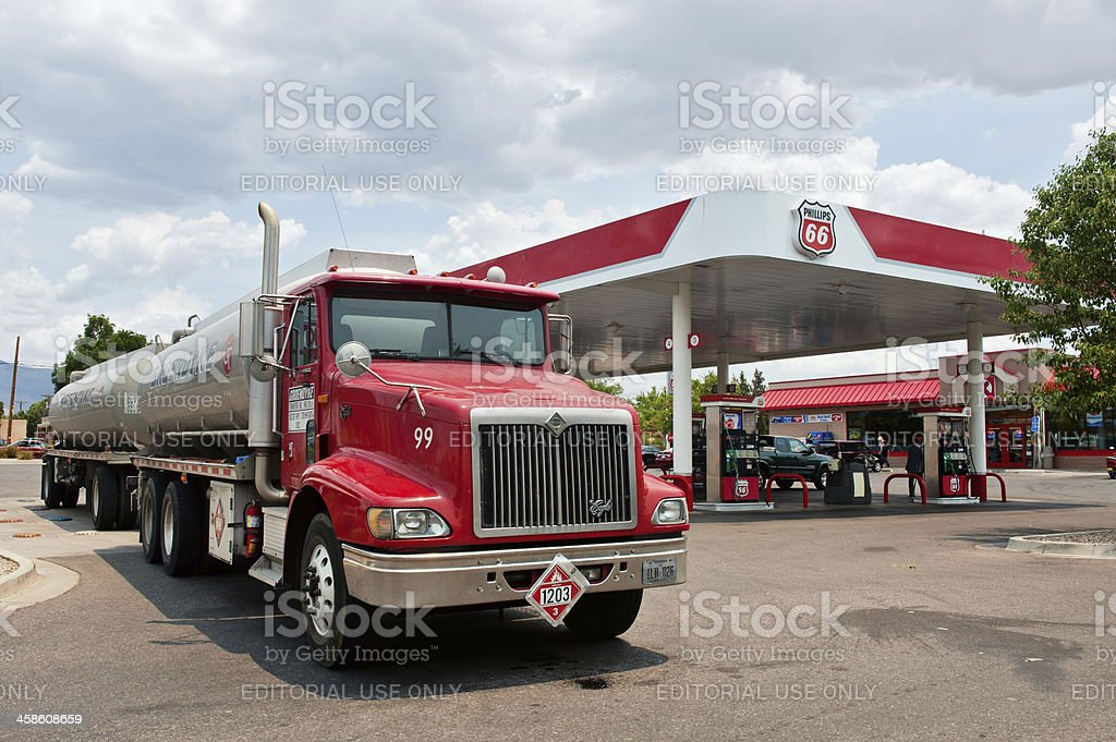 Phillips 66 Gasoline and Service Station with Semi Tanker Truck royalty-free stock photo