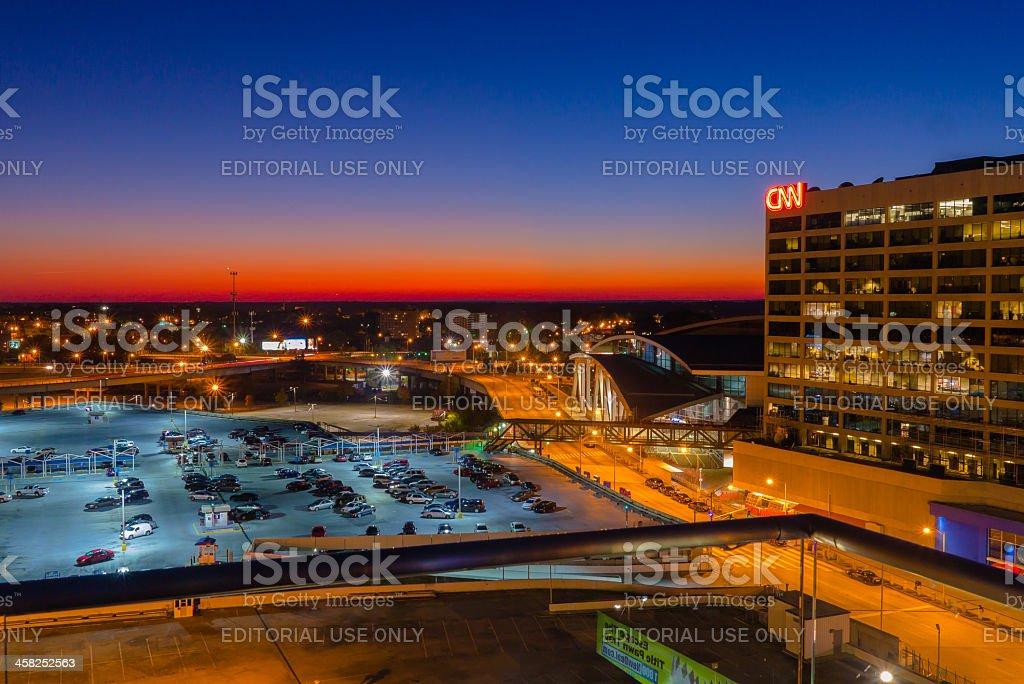 CNN & Phillips Arena, Downtown Atlanta stock photo