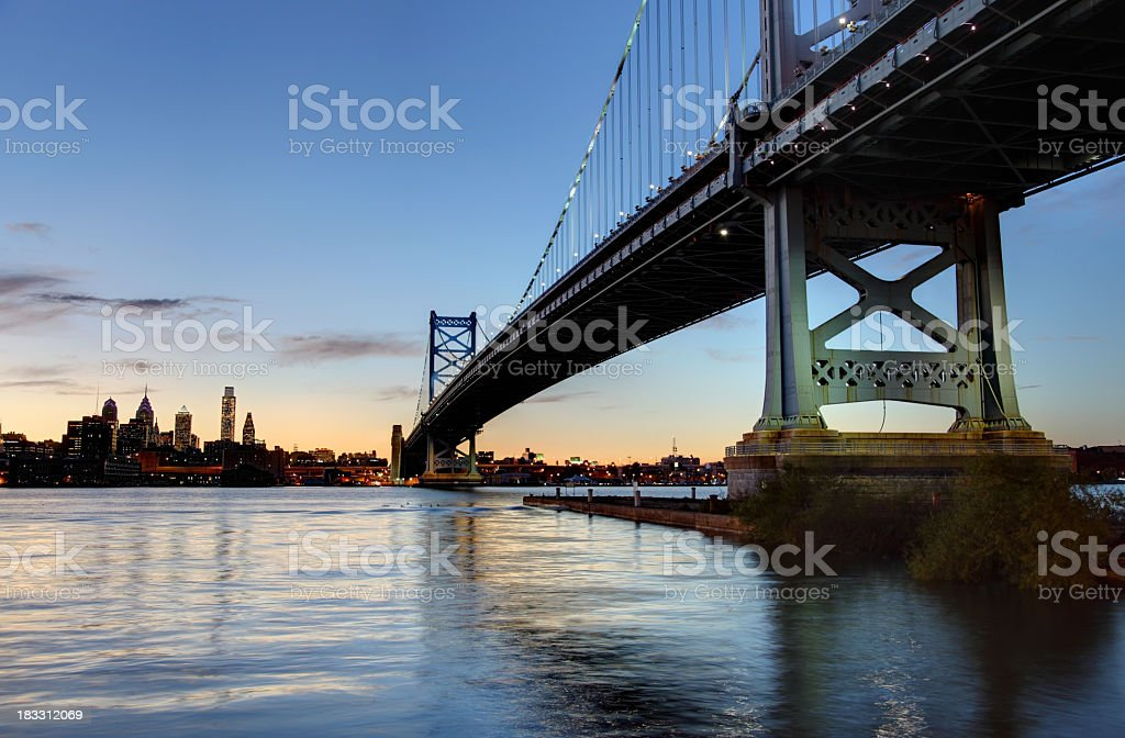 Philly and the Ben Franklin Bridge royalty-free stock photo