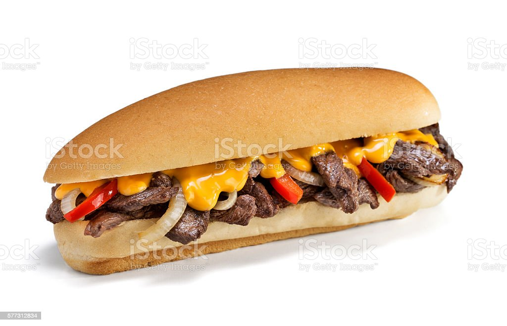 Philly Cheese Steak on White Background stock photo