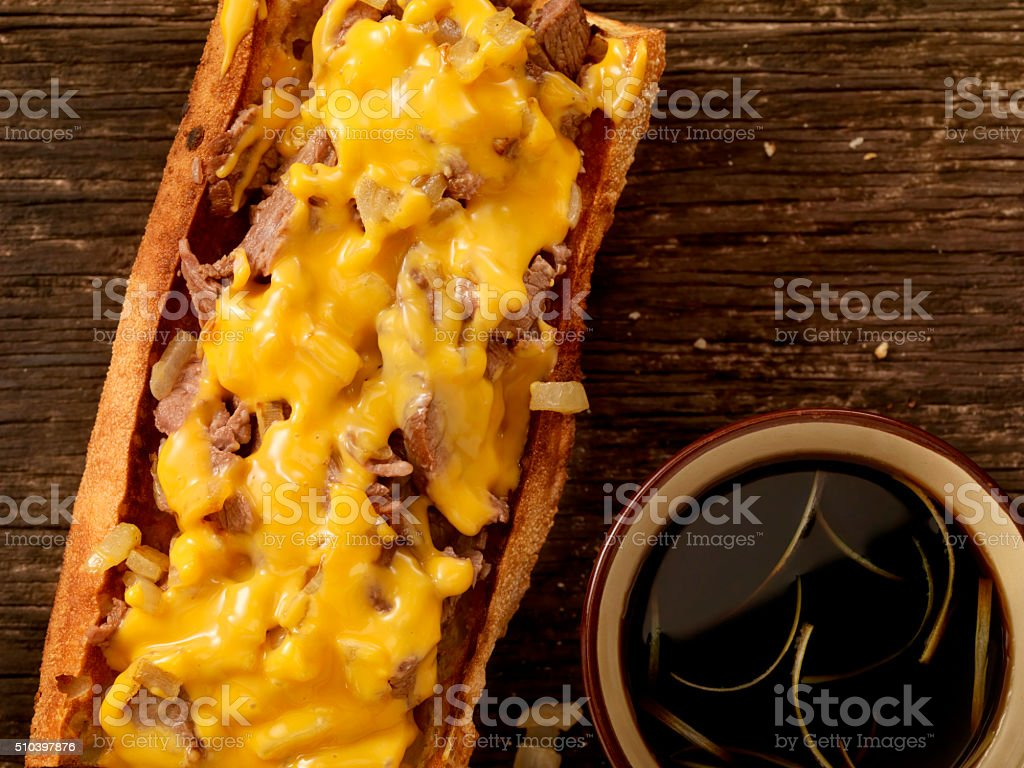 Philly Cheese Steak Sandwich with Au Jus stock photo