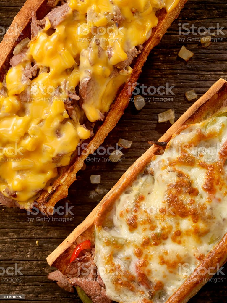Philly Cheese Steak Sandwiches stock photo