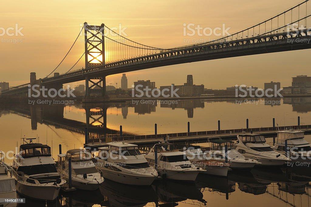 Philly Marina Sunrise stock photo