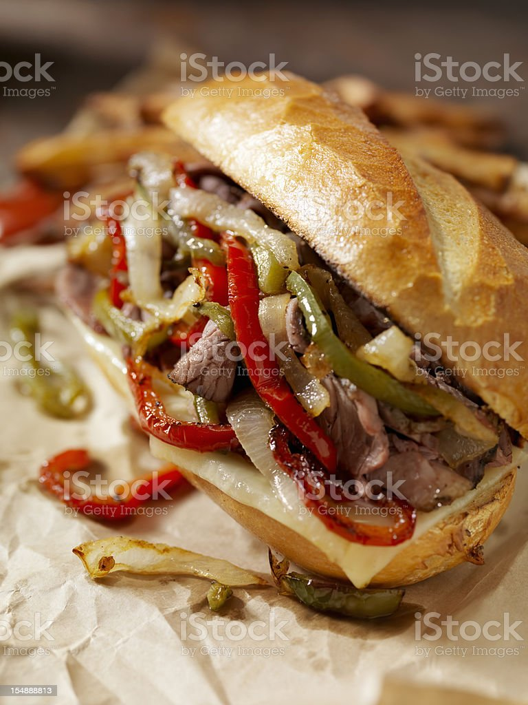Philly Prime Rib Sandwich with Roasted Peppers royalty-free stock photo