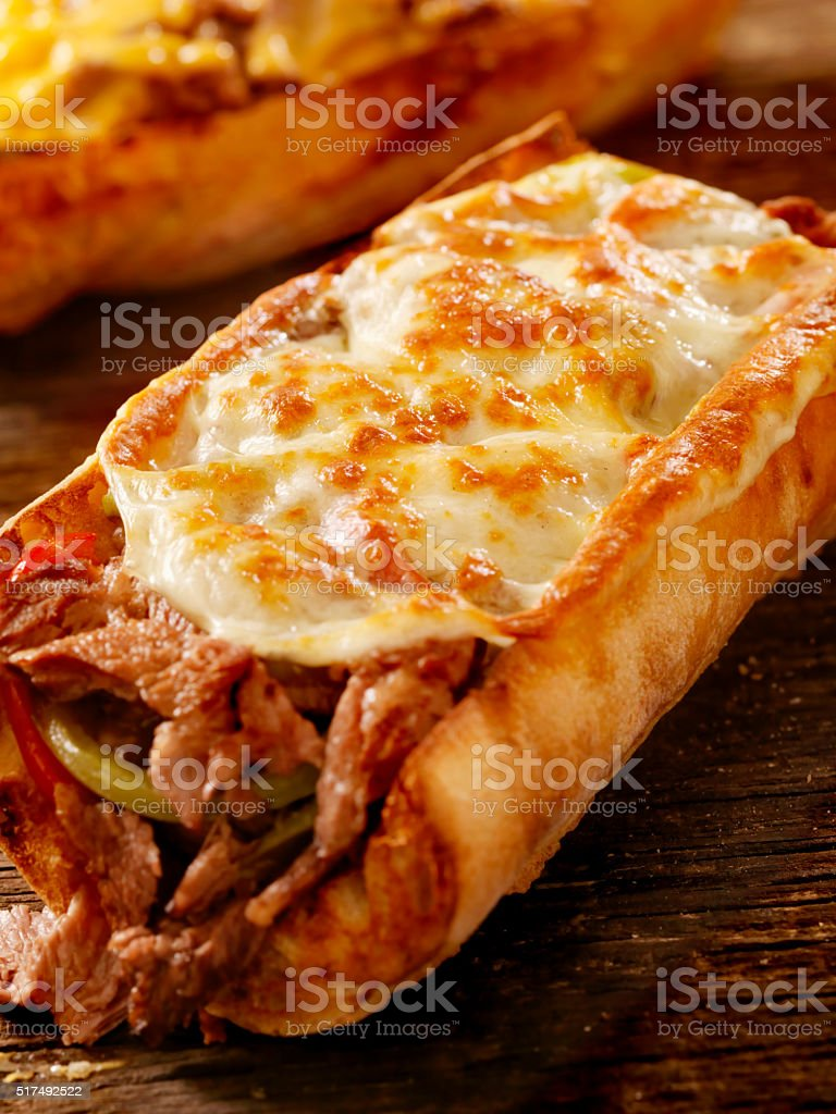 Philly Provolone, Cheese Steak Sandwich stock photo