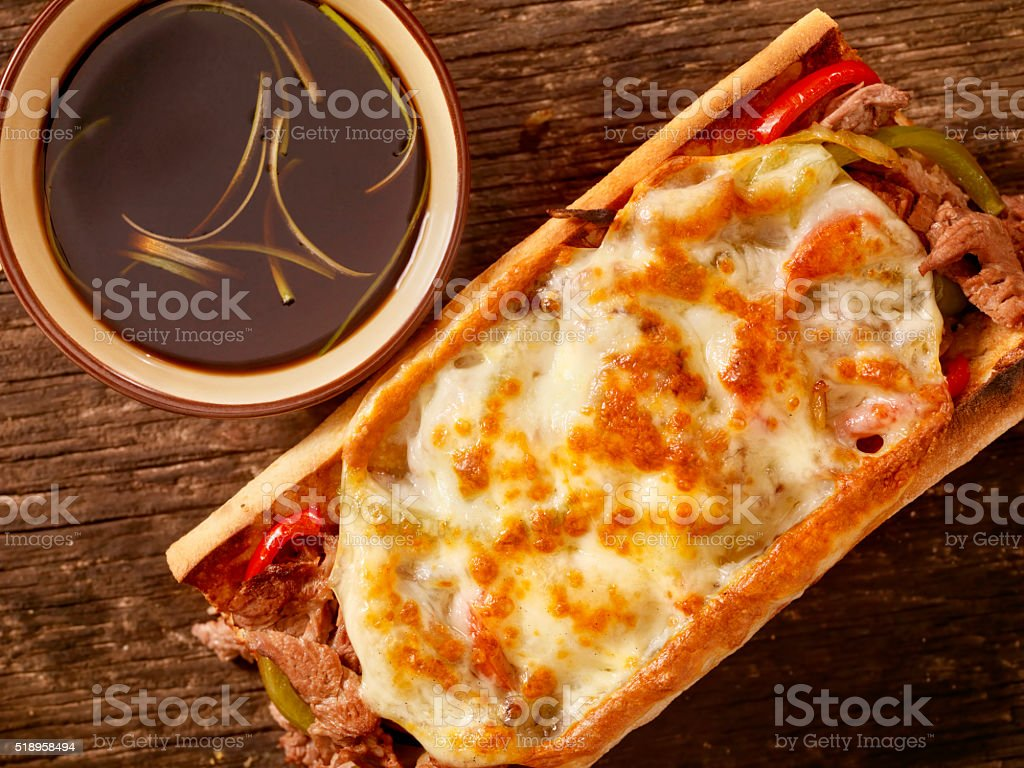 Philly Provolone, Cheese Steak Sandwich with Au jus stock photo