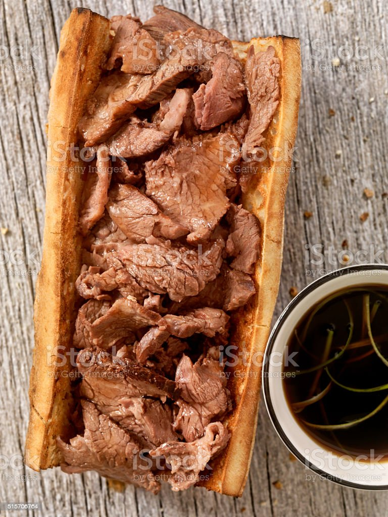 Philly Steak Sandwich with Au Jus stock photo