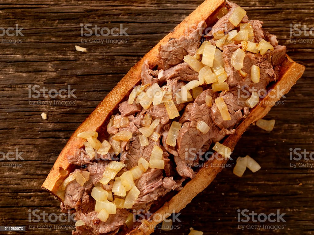 Philly Steak Sandwich with Onions stock photo