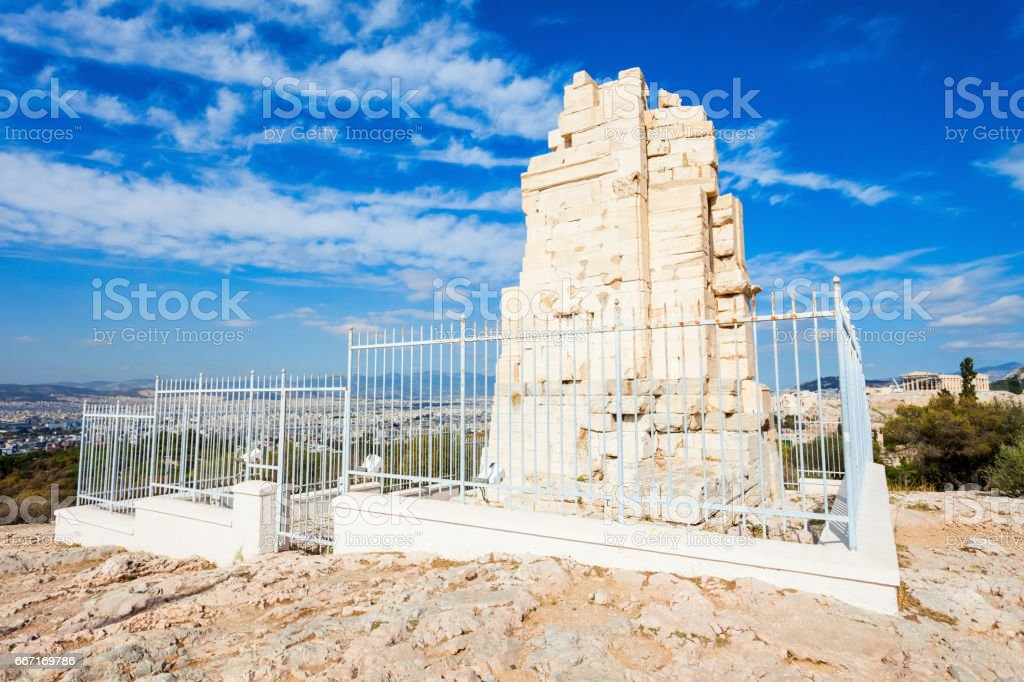 Philopappos Monument in Athens stock photo