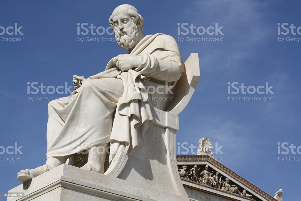 Philosopher Plato in Athens, Greece stock photo